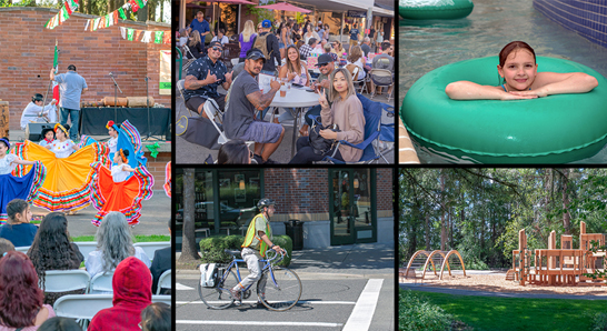 Photo collage: El Grito event, Celebrate Hillsboro, cyclist at the intersection, child in water park, and Hillsboro park.