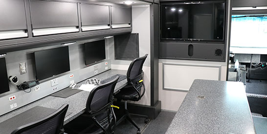 Photo of interior of the Hillsboro Police Mobile Command Post