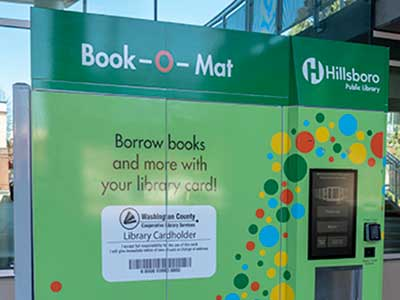 The Book-O-Mat is a self-service library vending machine located on the Civic Center Plaza in downtown Hillsboro