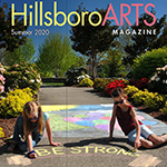 Cover of the Summer 2020 issue of the HillsboroARTS Magazine, featuring the image of two youth girls creating chalk art