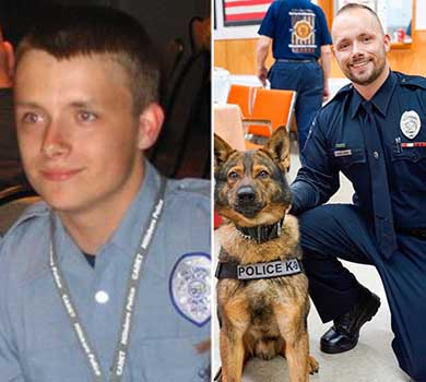 Then and now pictures of Officer David Bonn as a cadet and now as a Police Officer posing with a K-9