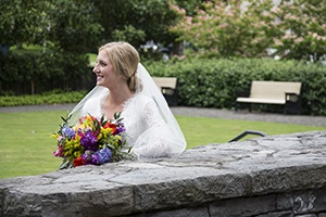 Image of a bride on the Walters Terrace. Photo by Stephanie Adams-Santos