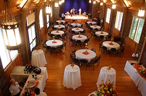 Image of the Walters Theatre decorated for a special dinner event.