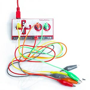 A Makey Makey kit. Links to the STEM catalog on Washington County Cooperative Library Services