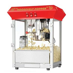 A popcorn maker machine. Links to the Events and Parties catalog on Washington County Library Services.