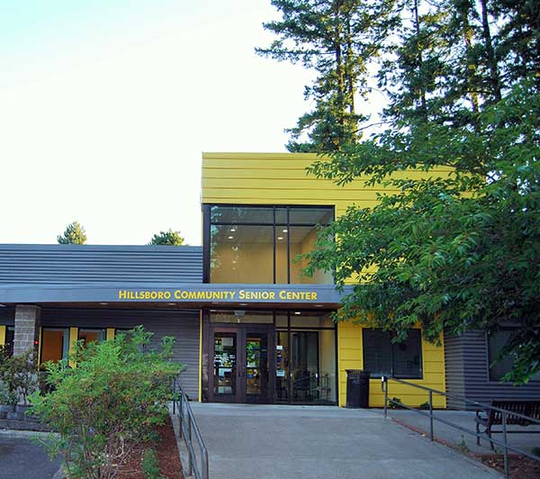 Photo of the entrance to the Hillsboro Community Senior Center.