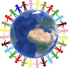 Stick people of many colors hold hands around an image of the earth.