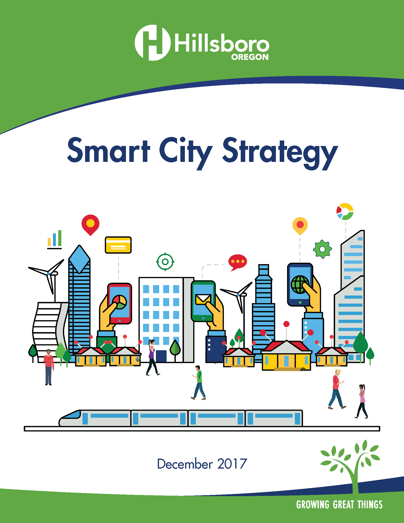 Image of Smart City Strategy cover page and link to pdf document