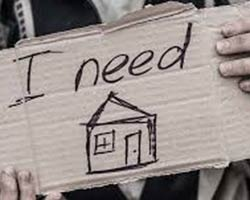 "Hands hold a cardboard sign that states ""I need a home."""