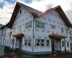 A muti-unit housing building is under construction